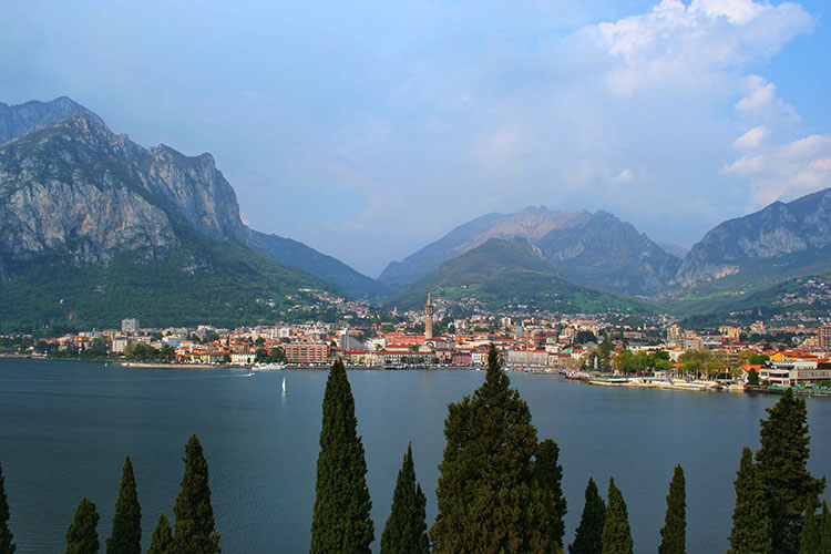 View across Lake Como to Lecco as seen from Hotel Griso