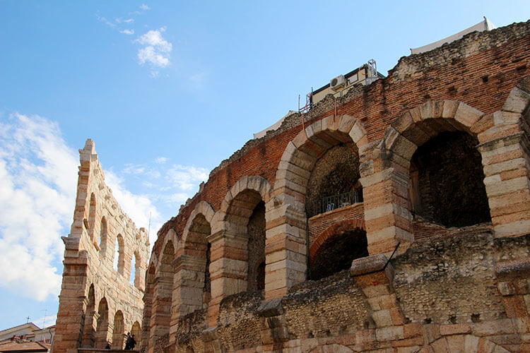 You can see earthquake damage where one of the rings was partially destroyed at the Arena di Verona