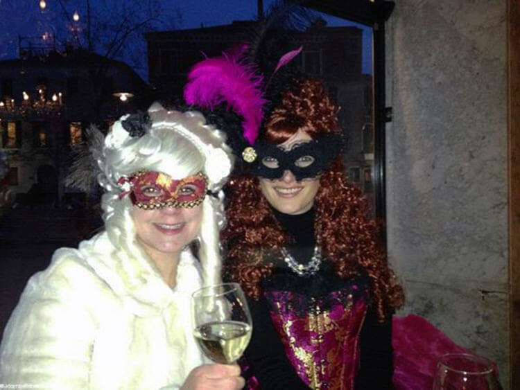 Me posing with a new friend on the Venice Carnival Pub Crawl