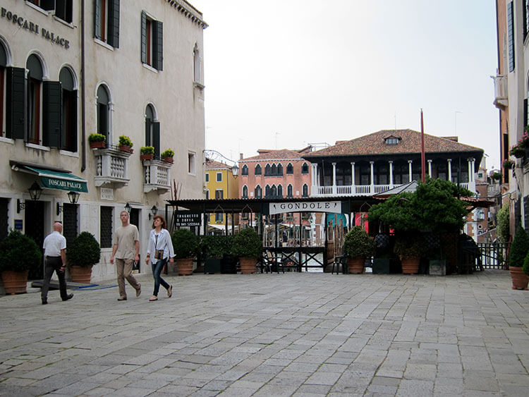 A traghetto crossing stop on the Grand Canal in Venice, Italy