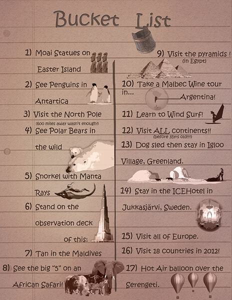 In No Particular Order Wed LOVE To See And Do These Things On Our Bucket List