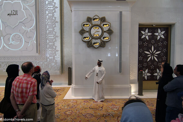 Our guide explaining the prayer clock