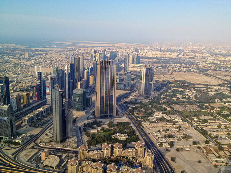 Views of Dubai and stretching out over the Persian Gulf from the top of the Burj Khalifa
