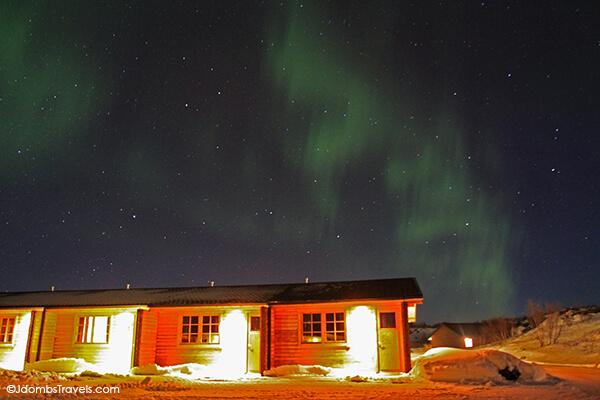 Northern Lights dance above Vogafjos Guesthouse