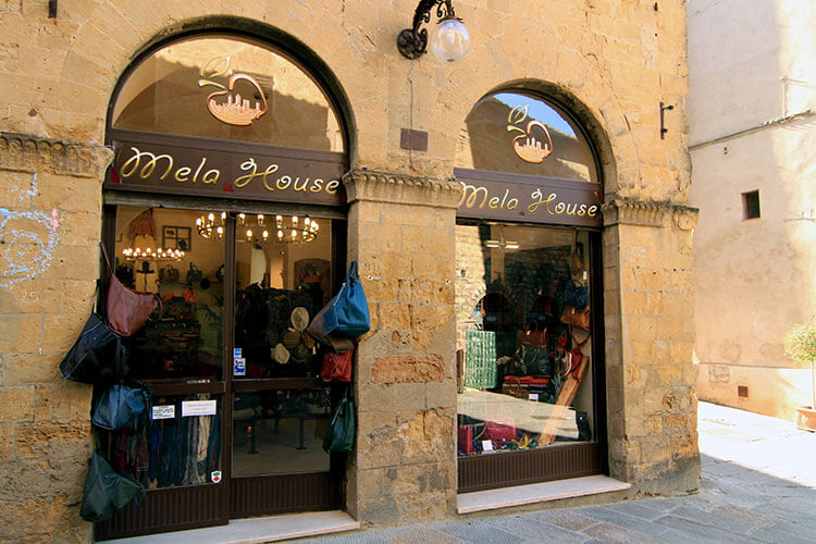 The Melo House leather shop exterior in San Gimignano