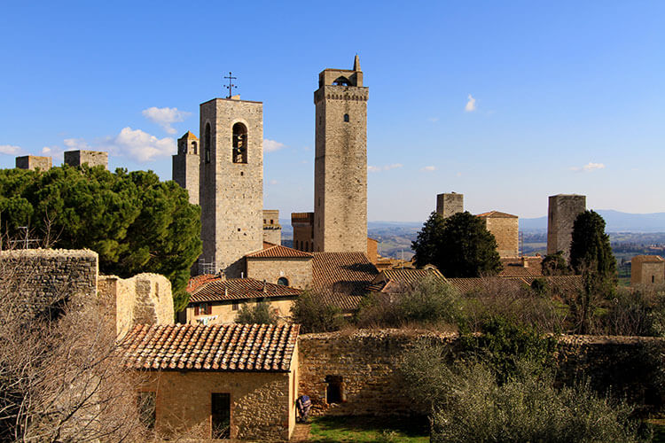 The seven towers of San Gimignano as seen from the fortress