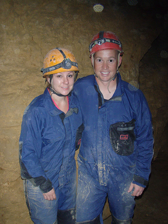 Me and Tim are all smiles even in our dusty suits while caving