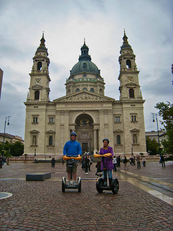 Me and Tim pose on our segways while touring Budapest