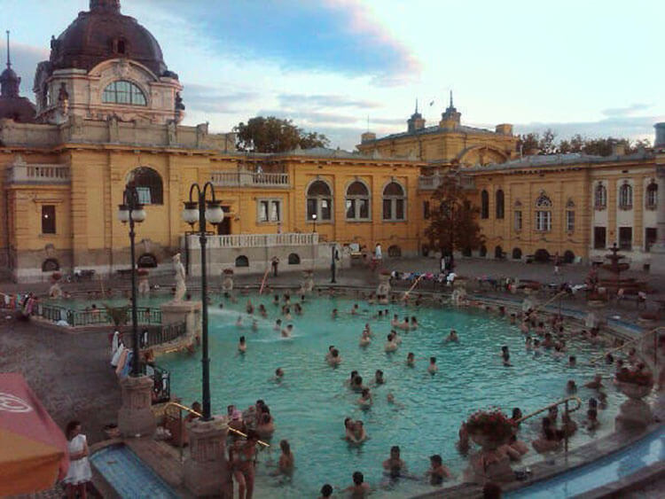 Sunset at the outdoor pools at Szechenyi Baths