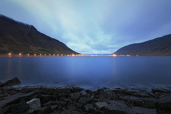 utside the city of Isafjordur, Iceland. 198 sec, f11, ISO 400 with a 4 stop ND filter.