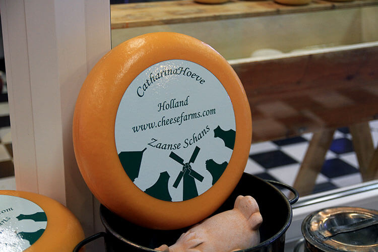 A wheel of cheese at the Cheese Farm in Zaanse Schans