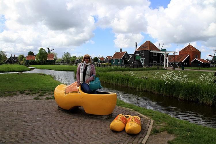 Jennifer posing inside a giant clog in Zaanse Schans