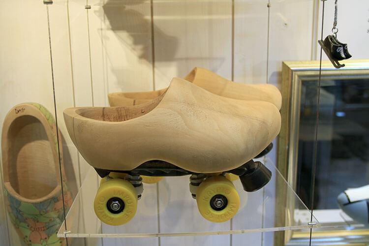 Wooden clog roller skates
