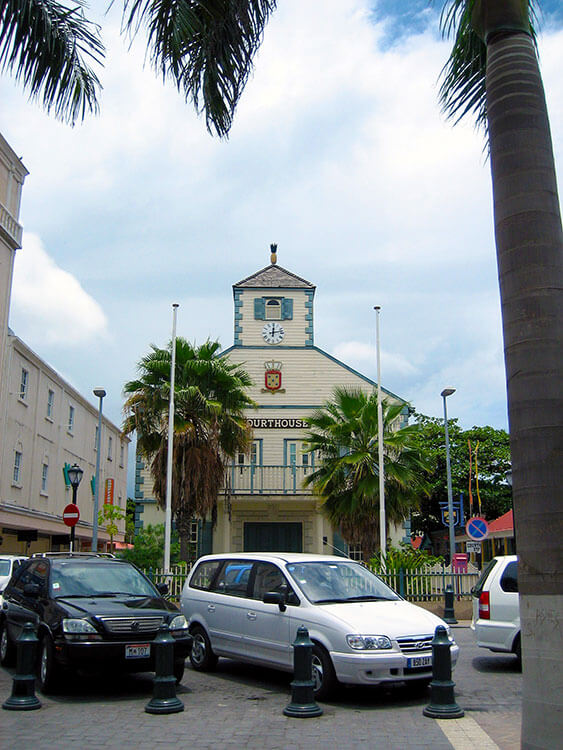 The old courthouse in white wood and mint green trim in Philipsburg, St. Maarten