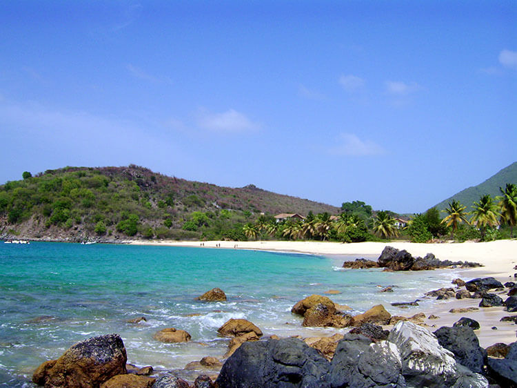White sand beach lined with tropical trees at Happy Bay in Saint Martin