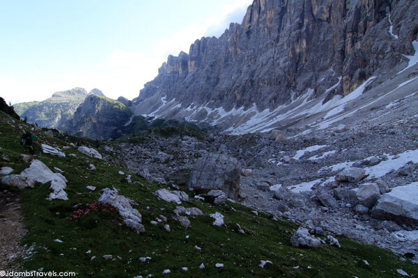 One of the sections which the route was covered with snow. In this case we had to abandon the high route and cut through boulders into the valley to cross.