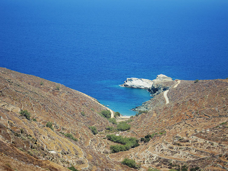 The winding path looking down to Agios Georgios Beach in Folegandros