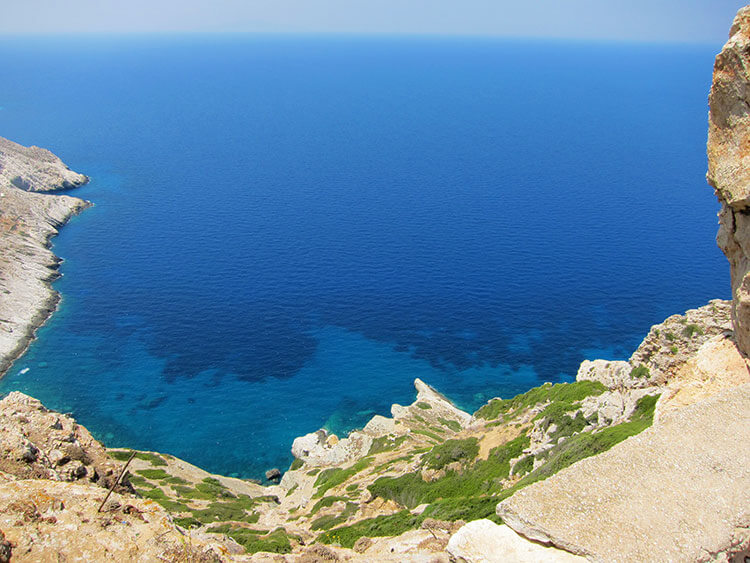 Looking down the cliff to Vorina Beach in Folegandros