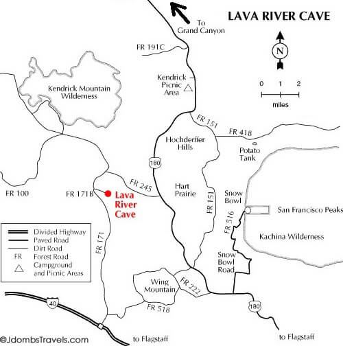 Map to the Lava River Cave in Flagstaff