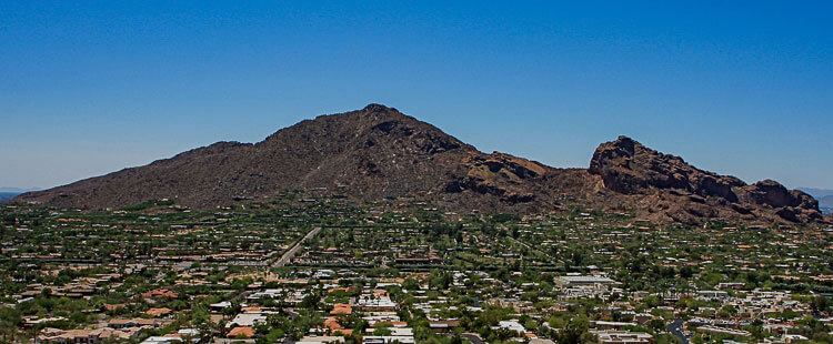 Camelback Mountain is seen from Phoenix and looks like a camel laying down