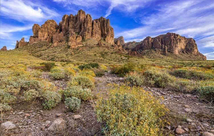 The Flat Iron and Superstition Mountains as seen form Lost Dutchmen State Park