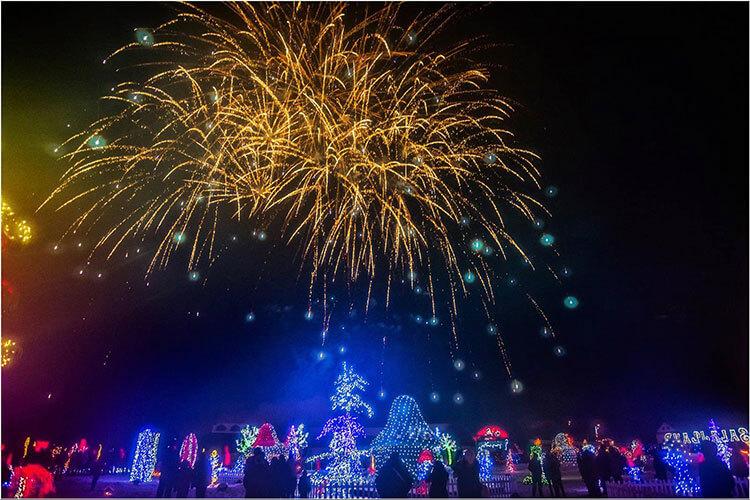 Christmas lights and fireworks at Bozicna Prica Obitelji Salaj