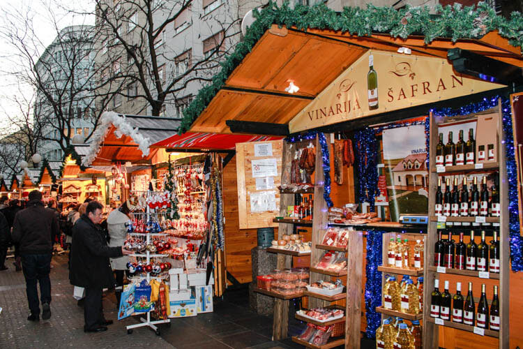 Stalls sell artisan Croatian products and traditional foods at the Zagreb Christmas Market
