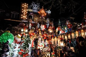 Lucy Spata's house with her original 40 angels plus snowmen, santas, and holiday characters in Dyker Heights, Brooklyn