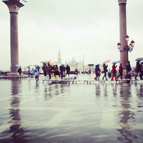 Acqua Alta on January 31, 2014 in St. Mark's Square
