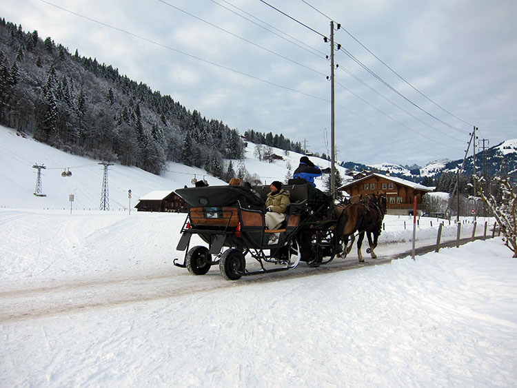 Four people in a two-horse drawn sleigh riding through the village of Gstaad