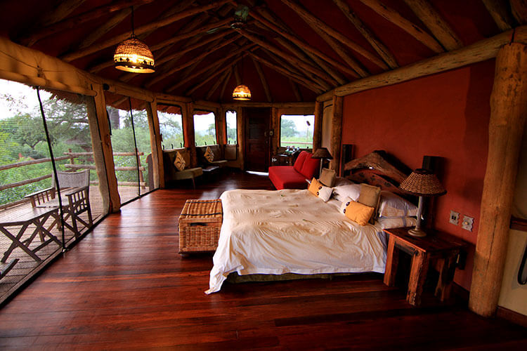 Our tree house at Tarangire Treetops with window screens surrounding it, a king size bed, and seating area