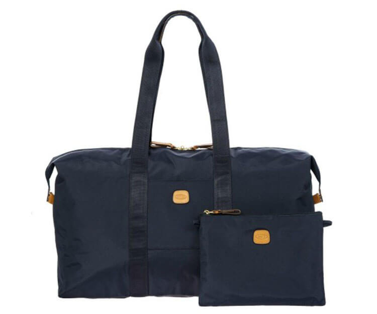 "Bric's X-Bag 22"" Folding Duffel in navy unfolded and showing pouch it folds down in to"