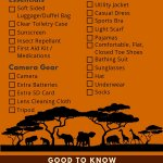 African Safari Packing List Printable Checklist