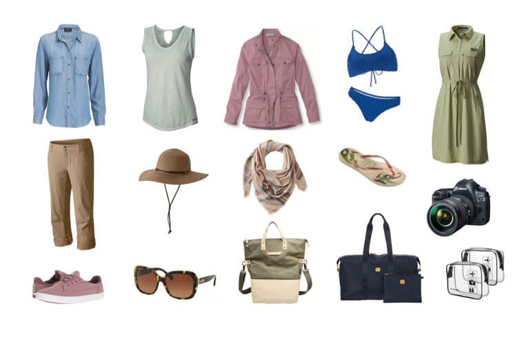 A collage of fashionable safari clothes suggestions for women