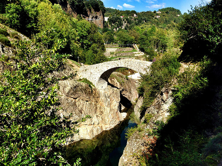 A view of the stone Pont du Diable over the Ardeche River