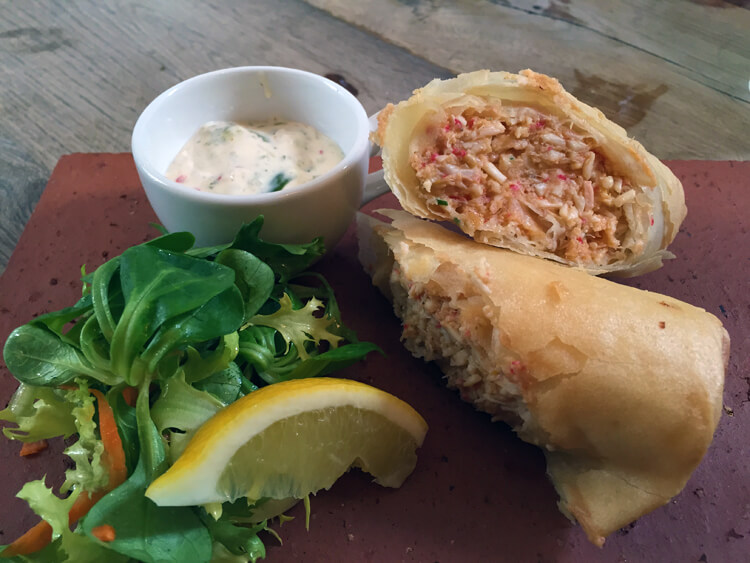Crab spring roll at The Crown