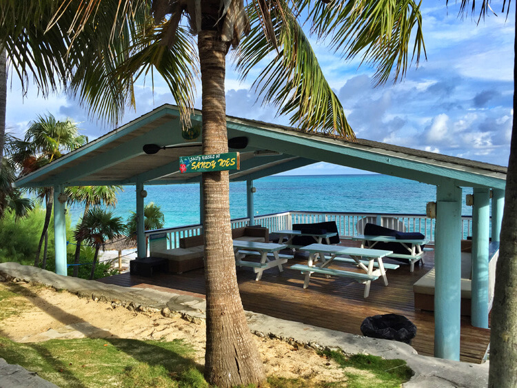 The covered deck of the dining area for day trippers at Sandy Toes Rose Island, Bahamas