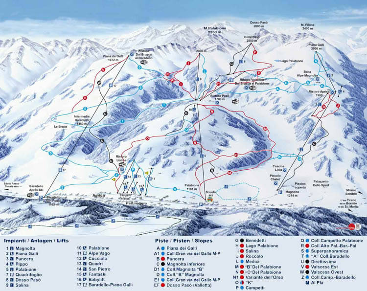 Aprica Piste Map The Resort Features 50 Kilometers Of Groomed