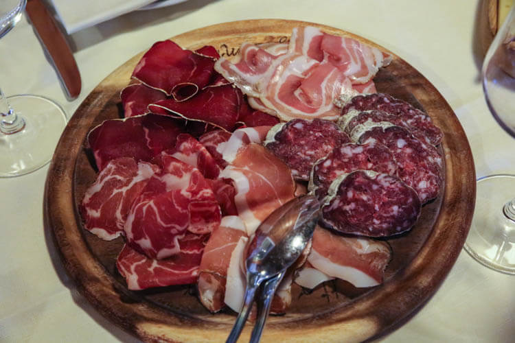 A platter of Bresaola and other cured meats in Valchiavenna