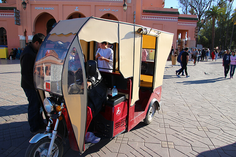 Tuk tuk on Marrakech Food Tours