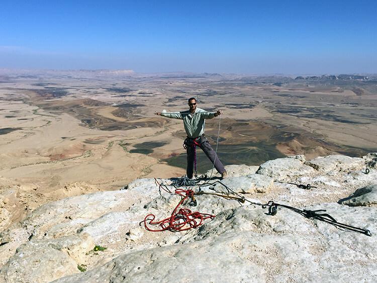 Rappelling in Ramon Crater Negev Desert