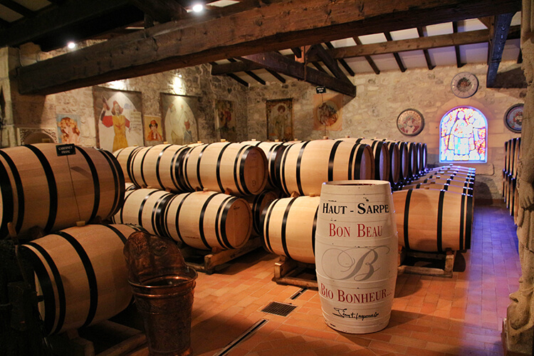 The barrel room at Chateau Haut-Sarpe