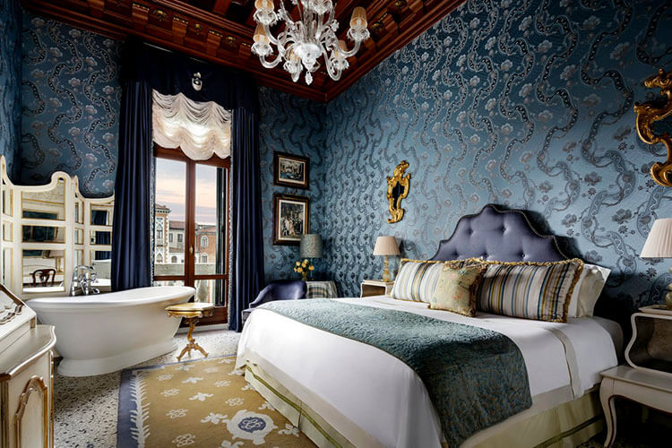 A room in blue with a room of the Grand Canal in Gritti Palace in Venice, Italy