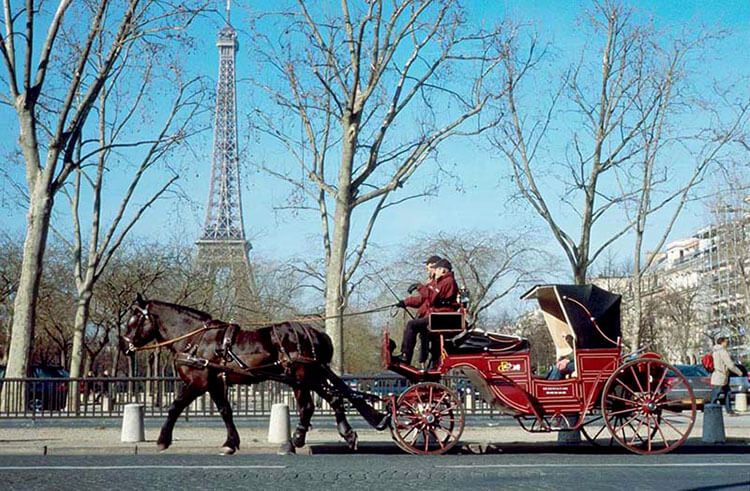 A horse drawn carriage passes by the Eiffel Tower in Paris, France