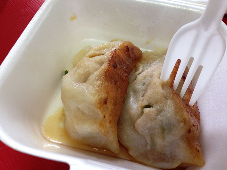 The delicious pork and chive dumplings at Tasty Dumpling