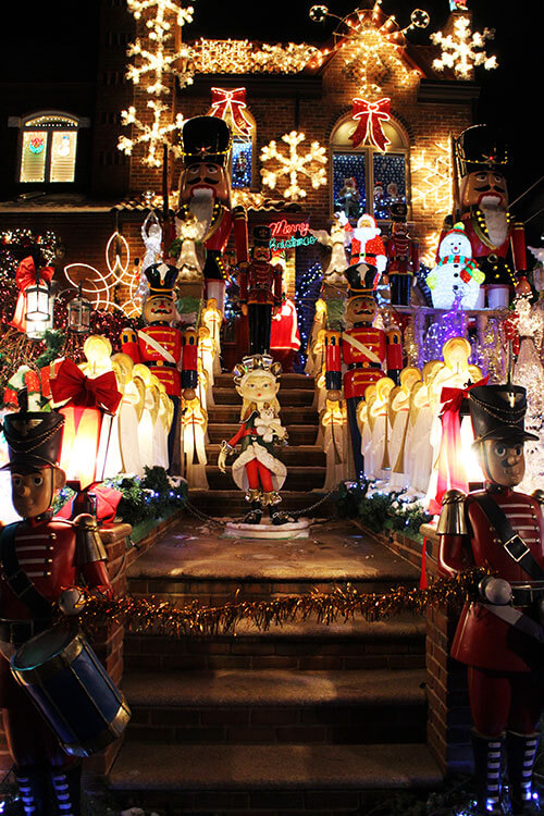 Over-the-top Christmas lights and displays at Lucy Spata's house in Dyker Heights