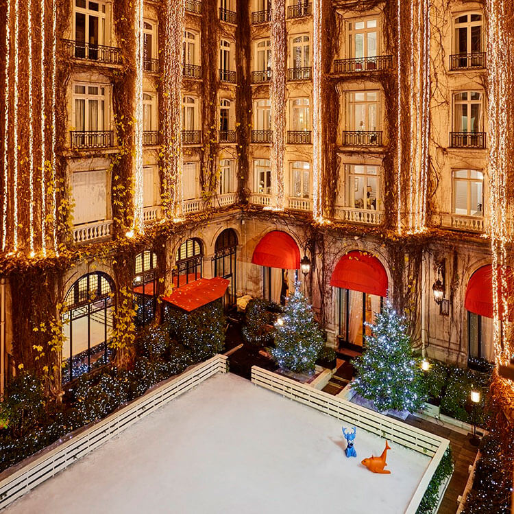 The ice skating rink in the interior courtyard at Plaza Athénée in Paris, France