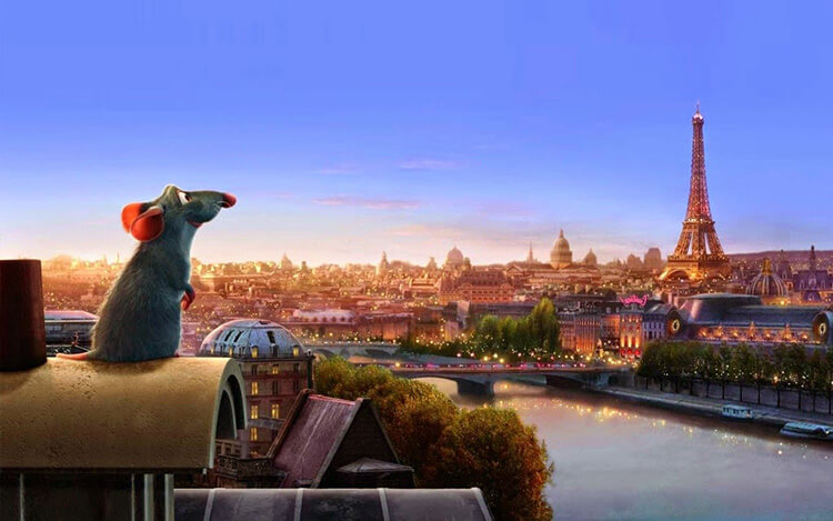 A shot from Ratatoille where Remy looks out over the Parisian rooftops