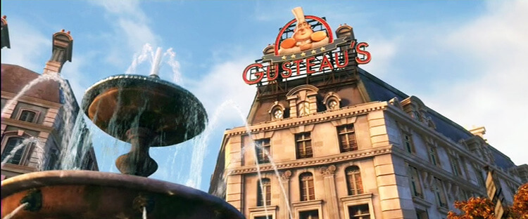 A still of Gusteau's in the movie Ratatouille