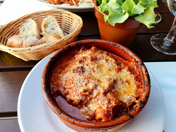 Oven baked lasagna at Peppone